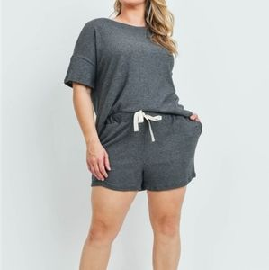 🆕️ ♡PLUS♡ KHLOE Top and Shorts Set in Charcoal